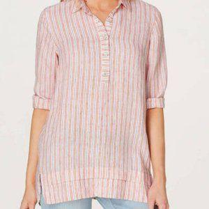 J. Jill NWT Tangerine Striped Linen Tunic Large P